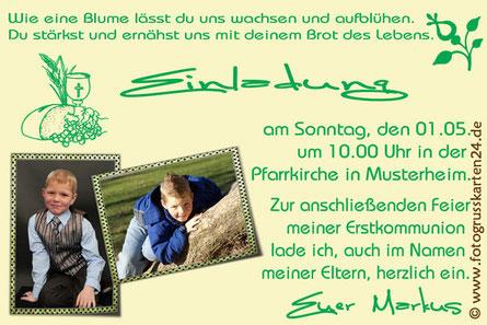 Einladungen Kommunion grün/gelb