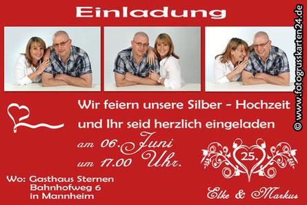 Silber-Hochzeit Einladungskarten rot mit Foto