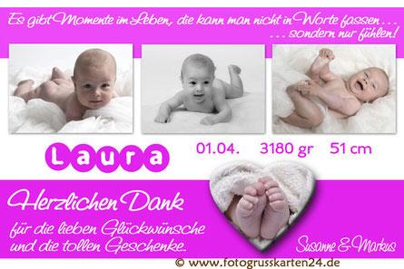 Dankeskarte Geburt Baby Mädchen