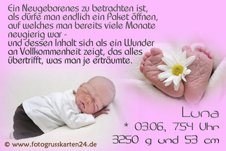 Geburtsanzeigen Fotokarten