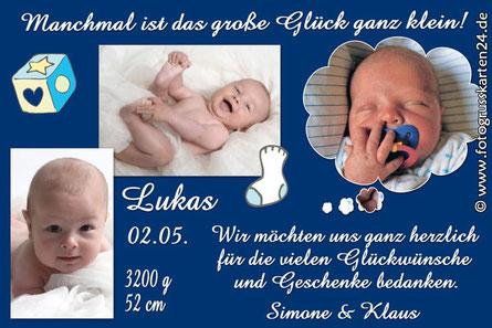 Dankeskarte zur Geburt Junge blaue Babykarte