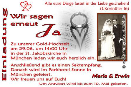 Einladungskarten Gold-Hochzeit Einladungen