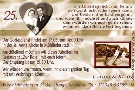 Einladungen zu 25 Jahre Ehe Silberhochzeit