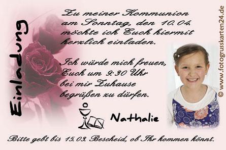 Kommunion Einladungskarte rosa mit Rose