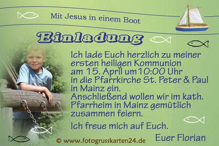 Kommunion Einladungskarte Mit Jesus in einem Boot