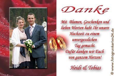 Dankeskarte zur Hochzeit rote Rose