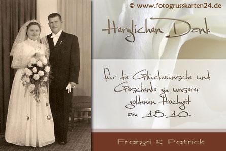 Goldhochzeit Dankekarte goldene Hochzeit Danksagungskarten