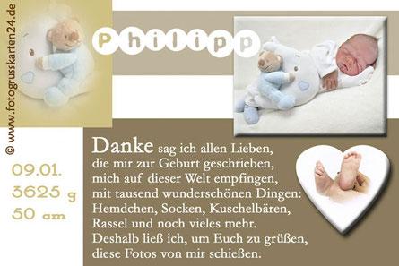 Danksagungskarten zur Geburt mit Foto Babykarten