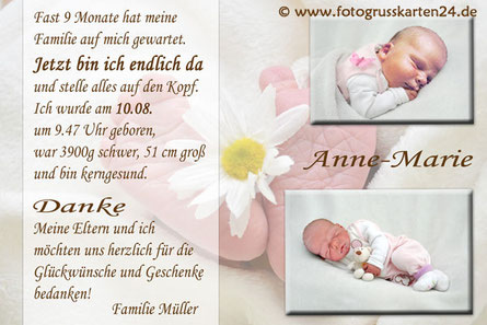 Geburtskarten Danksagungskarten