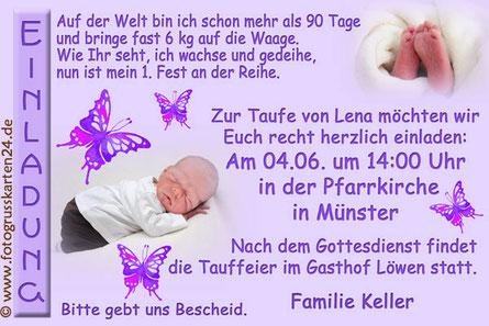 lila Einladungskarte zur Taufe Mädchen mit Schmetterlingen