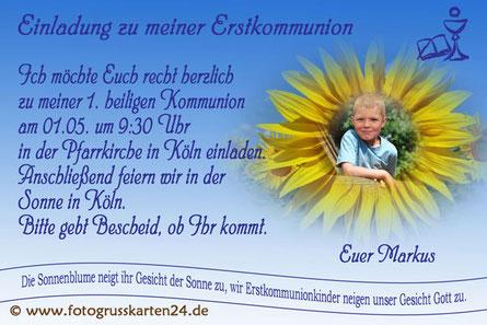 Einladungskarte Erstkommunion Sonnenblume