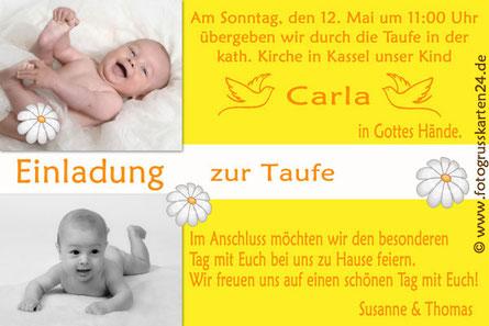 Taufe Einladungskarte mit Foto und Wunschtext