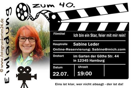 Einladungen zum 40. Geburtstag Einladungskarten Regie/Film