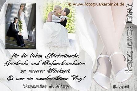Danke für die Glückwünsche zur Hochzeit Dankeskarten Danksagungen