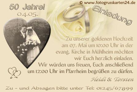 Goldene Hochzeit Einladungskarten mit Foto