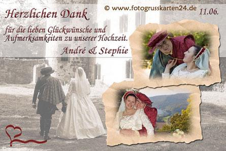 Hochzeitdanksagungen mit Fot und Wunschtext