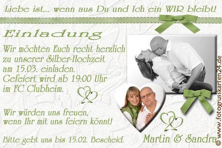 Silberhochzeit Einladungskarten Einladungen zur silbernen Hochzeit