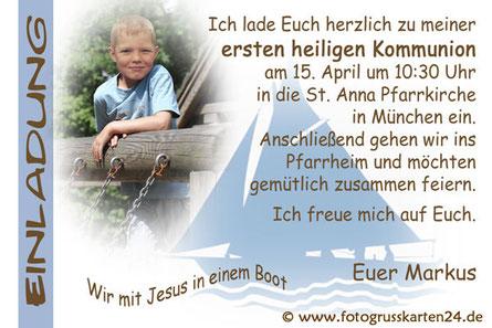 Einladung Wir mit Jesus in einem Boot Erstkommunion mit Foto