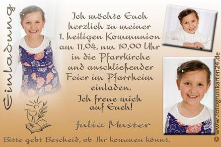 Kommunion Einladungskarte mit Foto braun