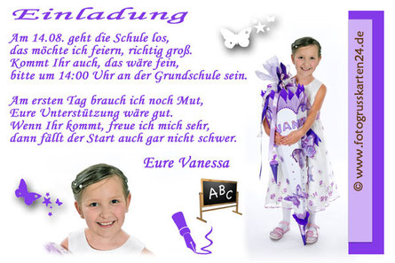 Einladungskarten Schuleinführung lila für Mädchen