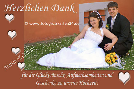 braune Dankeskarte zur Hochzeit Trauung Danksagungen