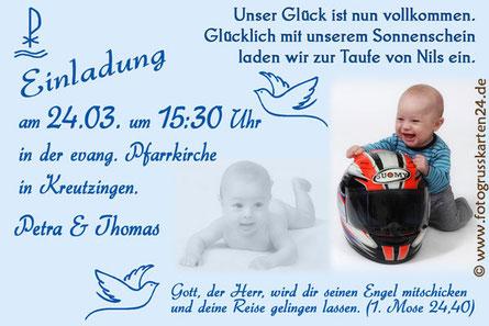 Taufe Einladungen mit Foto Einladungskarten