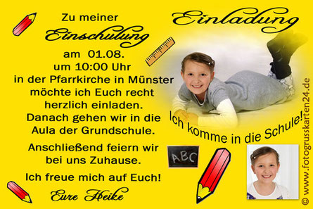 Schuleinfühung Einladungskarten mit Foto gelb für Mädchen