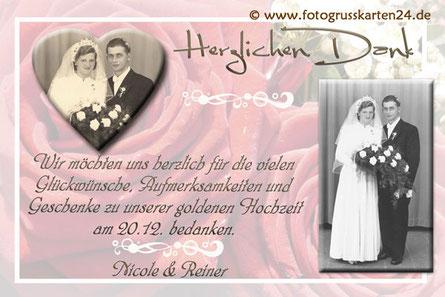 Dankeskarte Goldhochzeit Danksagungskarte goldene Hochzeit