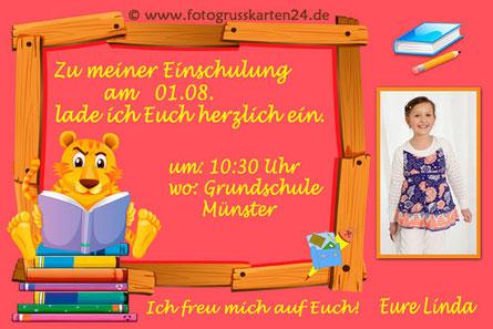 Einladungskarte Schuleinführung Löwe mit Foto