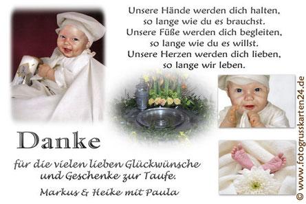Taufe Danksagungskarten mit Foto Dankeskarte Taufe