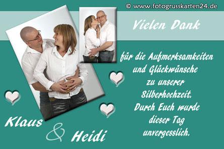 Danksagungskarten Silber-Hochzeit Dankeskarten silberne Hochzeit