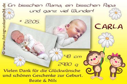 gelbe Babykarte, Danksagungskarte Mädchen Geburt