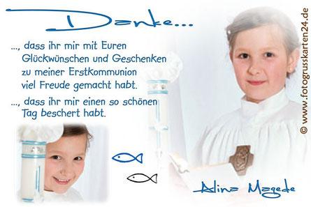 Erstkommunion Dankeskarten 1. heilige Kommunion Danksagungen