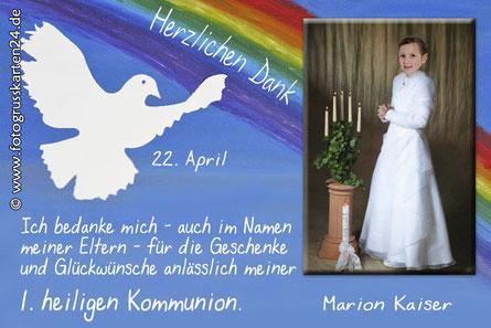 Dankeskarten Kommunion Regenbogen und Taube
