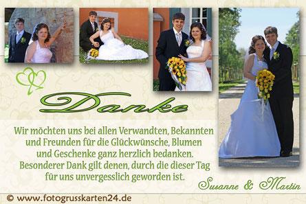 Hochzeitdankeskarte Danksagungskarten zur Hochzeit