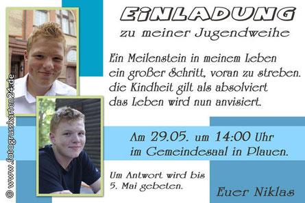 Fotoeinladungen Karten Jugendweihe