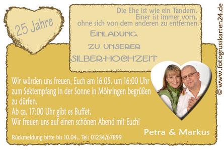 Silberhochzeit Einladungskarten 25 Jahre verheiratet