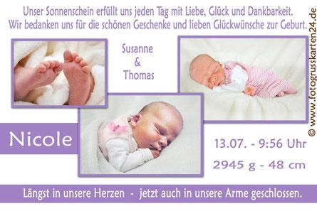 Babykarten Geburtskarten Danksagungskarten