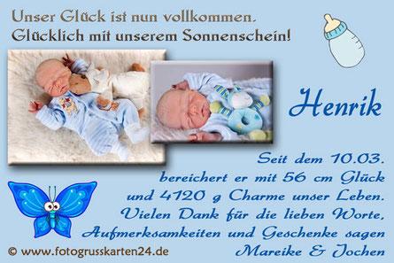 blaue Dankeskarten zur Geburt für Junge Babykarten