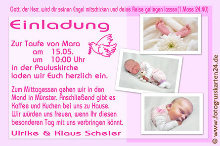 Einladungskarte Taufe rosa
