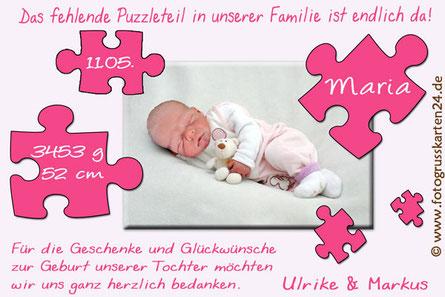 Dankeskarte Babykarten pink Mädchen Geburt