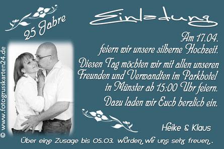 Einladung Silberhochzeit Einladungskarten silberne Hochzeit