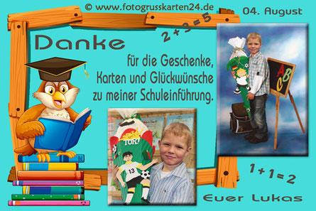Dankeskarten Einschulung Eule mit Foto