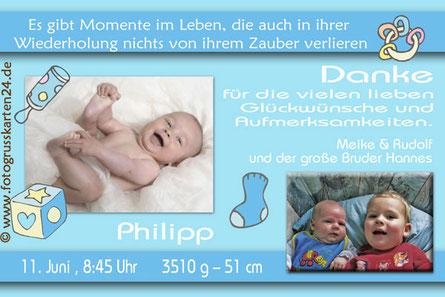 blaue Dankeskarte zur Geburt Junge