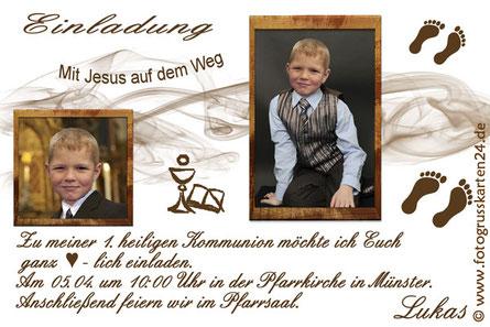 Einladungskarte zur Kommunion braun Mit Jesus auf dem Weg