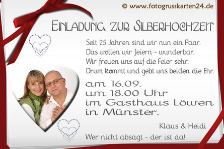 Einladungskarte zur Silberhochzeit Einladungen zur silbernen Hochzeit