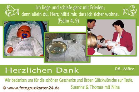 grüne Dankeskarte für die Taufe mit Foto