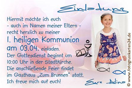 Einladungskarte Kommunion mit Foto und Wunschtext
