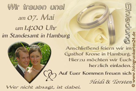 Einladungskarte beige Hochzeit Einladungen Trauung