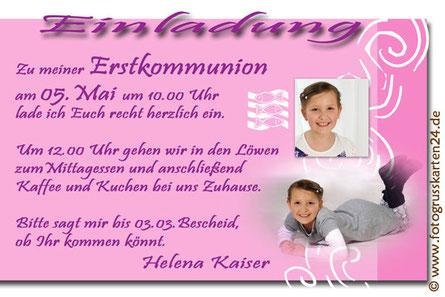 Kommunion Einladungen mit Foto Karten